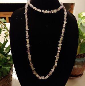 Handmade quartz and purple amethyst necklace